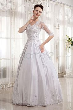 V-Ausschnitt Satin Ballkleid Spitze 3/4 länge Ärmel bodenlanges Brautkleid mit Bedeckter Rücken