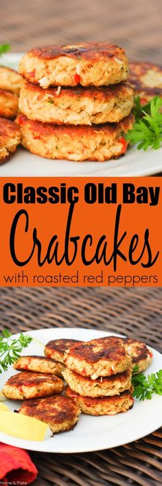 Classic Old Bay Crab Cakes with Roasted Red Peppers. The secret to these classic crab cakes is that the succulent crab meat is mixed with just the right amount of crunchy Panko breadcrumbs. Crab Cake Recipes, Fish Recipes, Seafood Recipes, Appetizer Recipes, Cooking Recipes, Appetizers, Potato Recipes, Vegetable Recipes, Gourmet