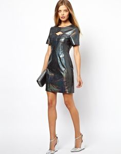 ASOS Snake Holographic Leather Cut Out Mini Dress