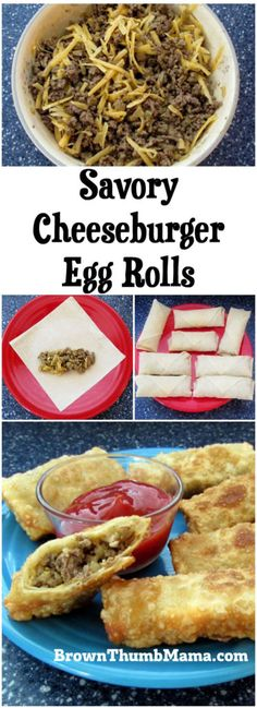 Your taste buds will love this flavor combination! Savory cheeseburger filling surrounded by a crunchy egg roll wrapper makes a perfect snack or fun meal when you're on the go. Egg Roll Recipes, Beef Recipes, Real Food Recipes, Cooking Recipes, Hamburger Recipes, Top Recipes, Copycat Recipes, Easy Recipes, Empanadas