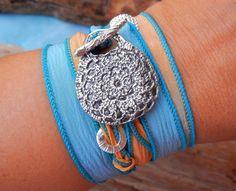 Hippie Crochet Wrap Bracelet, STERLING Silver Crochet Jewelry, Hippie Jewelry Boho Bracelet, Crocheted Silver Bracelet Gypsy Gift for Her. $49.95, via Etsy.