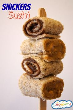 Snickers Sushi: peanut butter nutella sandwich rolls.  Great way to change up kids lunches! | MOMables.com