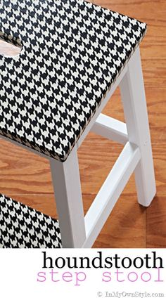 Easy and affordable furniture makeover. Takes only 30 minutes!  Houndstooth-Duct-Tape-Stool  #Ducktape  #Furnituremakeovers #DIY  {InMyOwnStyle.com}
