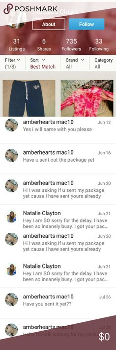 SCAMMER!!!!!  DON'T TRADE WITH HER We decided to trade and we exchanged addresses and then I sent my package the very first day and I was tracking it cuz I had the tracking number then I emailed her and I messaged her on Poshmark if she ever sent mine and she never answered and then she answered that she was really busy and I said okay but then I e-mailed her because I never got the package and she's still never answered Other