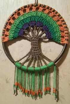 Crochet Tree of Life Dream Catcher Free Pattern Video - Crochet Dream Catcher Free Patterns Motif Mandala Crochet, Art Au Crochet, Crochet Ripple Afghan, Crochet Tree, Crochet Motifs, Afghan Crochet Patterns, Crochet Crafts, Crochet Doilies, Crochet Stitches