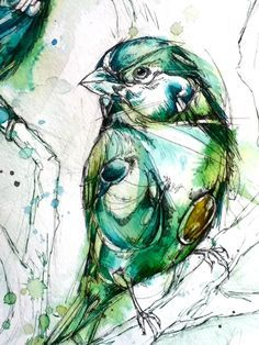 Bright Green Fellow by ~FinchFight on deviantART Art And Illustration, Illustrations, Bird Line Drawing, Bird Drawings, Watercolor Bird, Watercolor Paintings, Watercolor Portraits, Watercolor Landscape, Abstract Paintings