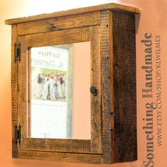 barn Medicine cabinet with mirror made from rustic reclaimed 1892 barn wood custom sizes Rustic Medicine Cabinets, Barn Wood Cabinets, Wall Cabinets, Bathroom Cabinets, Kitchen Cabinets, Rustic Bathroom Mirrors, Bathroom Mirror Storage, Bathroom Ideas, Gold Bathroom