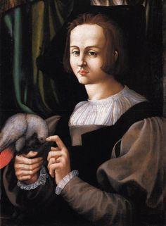 Francesco Melzi, Portrait of Man with a Parrot., 1525