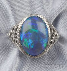 Art Deco Platinum and Black Opal Ring, Marcus & Co.