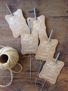 Wedding Sparkler Tag-Set of 24-Sparkler Sleeves, Custom Sparkler Tags, Rustic Sparkler Tags, Sparkler Send Off, designed using a beautiful swashing font which brings to mind whispy trails of light.  Let Love Light the Way  These custom printed sparkler tags will be perfect to send you off in sparkling style!  Set of 24 natural kraft tags per qty of 1, printed in your choice of white ink or black ink & personalized with your names and special date. Tags Measure appx 2x3 each.  (Please note…