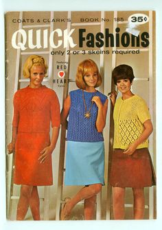 Coats & Clark's Quick Fashions Book 185 Sweaters Shells Short-Sleeves Vintage Retro Mod Knitting Patterns by KindnessOfStrangers