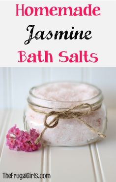 I would probably use lavender essential oil but this would be easy to make.  Homemade Jasmine Bath Salts ~ from TheFrugalGirls.com ~ this simple little project makes a fabulous Gift in a Jar! #masonjars