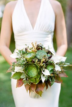 Succulent Wedding Bouquet Idea: rustic, modern, Calla Lilies, green, ivory