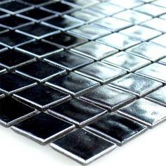 mosaikfliesen glas perlmutt effekt 20x20x4mm schwarz - Schwarzweimosaikfliese Backsplash
