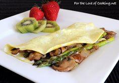 Caramelized Mushroom, onion, asparagus, and extra sharp white cheddar omelet