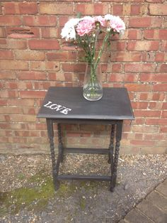 """Annie Sloan """"graphite"""" with """"Antoinette"""" stencilling Annie Sloan Graphite, Annie Sloan Chalk Paint, Stencils, Projects, Painting, Furniture, Home Decor, Consoles, Tables"""