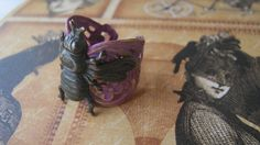 Bee Ring Bee Jewelry Purple Patina over Brass by enchantedsquirrel, $25.00