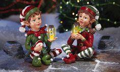 2 Vintage Christmas Elves Elf On A Shelf Garden Statue Figurine Yard Solar Light