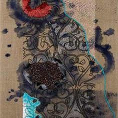 Karin Birch, hand embroidery and hand stitched beadwork combined with acrylic paint