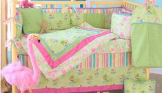 Glenna Jean Lilly Pulitzer Florida style baby crib bedding set.  Tropical pink flamingo and palm trees  pattern fabric in classic lime green  and pink.  A super crib set for a fun beach theme nursery!