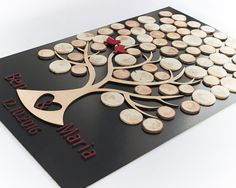 3d wedding guest book Natural wood wedding by HelenaWeddingGallery