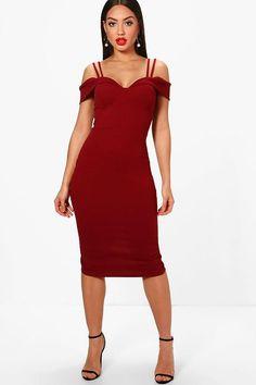 Abigail Strappy Cold Shoulder Midi Dress