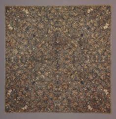 Headcloth | Javanese Batik | Cotton | Dated 1920 - 1929 A.D. | Plant design (called semen) | Probably a Tjap (stamped) Batik technique | Found in the Dallas Museum of Art | https://www.dma.org/art/exhibitions/waxed-batik-java