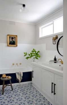 How to Paint a Bathroom Makeover When you have a limited budget, a perfectly fine (yet hideously ugly!) bathroom, and a slightly bizarre penchant for. Diy Bathroom, Bathroom Renos, Bathroom Renovations, Bathroom Interior, Modern Bathroom, Small Bathroom, Bathroom Ideas, Budget Bathroom Makeovers, Cheap Bathroom Remodel