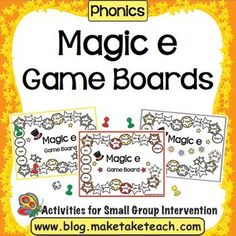 Perfect activity for your literacy centers!  Four Magic e game boards will keep your students engaged during independent work stations or during small group intervention.This activity is one of 15 hands-on activities contained in the Magic e Activity PackFirst Grade Common Core State Standard 1.RFS.3c (CCSS 1.RFS.3) Know final -e and common vowel team conventions for representing long vowel sounds.
