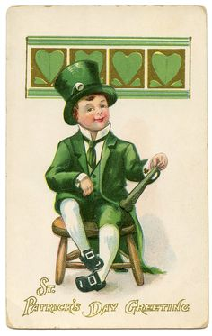 Loving this Irish Leprechaun image from The Graphics Fairy. And he's FREE! Makes him even cuter. Vintage Greeting Cards, Vintage Postcards, Vintage Images, Vintage Ephemera, Vintage Pictures, Elf Images, Irish Celebration, St Patricks Day Cards, Fairy Tail