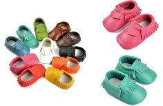 Genuine Leather Baby Mocs -  7 Colors! - Main Photo
