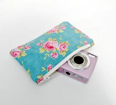 Woman's protective padded gadget pouch Tilda old English floral print in aqua blue pink and green.