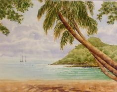 Pigeon Island, St. Lucia 11 in X 15 in watercolour painting by Ken Crawford
