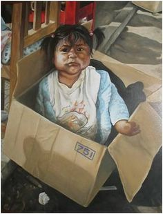 BANOS BABY - Acrylic on Canvas (80 x 60cm) Paper Shopping Bag, South Africa, Paintings, Portrait, Canvas, Artist, Beautiful, Baby, Tela