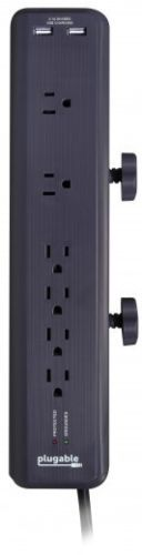 Plugable 6-Outlet Clamping Desk Mountable Power Strip with 2-Port USB PS6-USB2DC