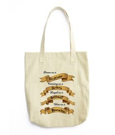 A cute, all-purpose natural cotton tote bag. Harry Potter Hogwarts House Traits…