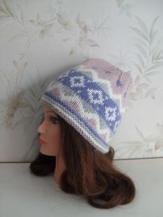 Women hand knitted rose-blue Fair isle hat/ slouchy beanie with knitted in design by MyOublawness on Etsy (null)