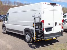 HTS Systems' hand truck carrier rack installed on Dodge ProMaster parcel delivery van. B&P Liberator junior hand truck locked aboard unit. Trailer Hitch Receiver, Parcel Delivery, Cargo Van, Dodge, The Unit, Trucks, Track, Truck, Cars