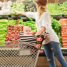 Multi-use Nursing Cover - Black & White and Floral. Scarf/Nursing Cover/Shopping Cart Cover/Car Seat Cover - www.milkandbaby.com