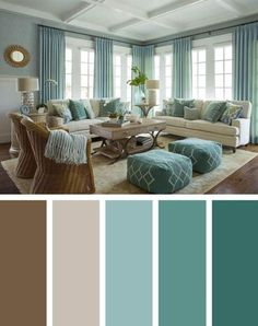 Dark green brown living room color scheme ideas - SHW Home Decor Good Living Room Colors, Living Room Color Schemes, Living Room White, Cozy Living Rooms, Living Room Paint, Living Room Designs, Colour Schemes, Colour Palettes, Small Living