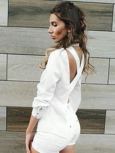 Fashion Solid Buttoned Pocket Crisscross Open Back Blouse Open Back Maxi Dress, Bodycon Dress With Sleeves, Trend Fashion, Women's Fashion, Pinterest Fashion, Lace Romper, Two Piece Dress, Womens Fashion Online, Amazing Women
