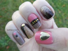 Super cute fall -ish nail art by Sparklepuss Polish using Soul Mate by Sinful Colors, Nite Owl by Orly, I'll Never Tell and Bare It All by Pure Ice.  Studs and diamond shaped glitter from Born Pretty. www.facebook.com/SparklepussPolish