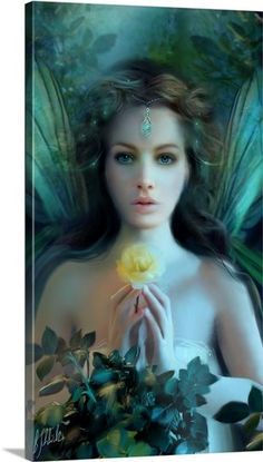 Emerald fairy with yellow rose
