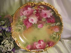 Stunning Antique Limoges France Hand Painted Victorian Roses Wall Plaque Charger Highly Collectible Still Life China Painting Artwork Heirloom Treasure Artist Signed