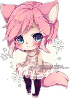 Chibi Commission Aquacatz by Maruuki on DeviantArt Anime Neko, Cute Anime Chibi, Chibi Kawaii, Kawaii Art, Kawaii Drawings, Cute Drawings, Anime Style, Draw Chibi, Kitten Drawing