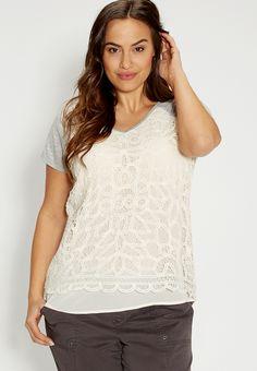 <ul><b>Overview</b><li>soft heathered knit</li><li>chiffon front with battenburg lace overlay</li><li>chiffon peaks out below lace</li><li>needs layering</li><li>v-neckline and short sleeves</li></ul><ul><b>Fabric and Care</b><li>Style Number: 86745</li><li>Imported</li><li>65% polyester 35% rayon; lace 100% cotton; lining 100% polyester</li><li>Machine wash</li></ul>