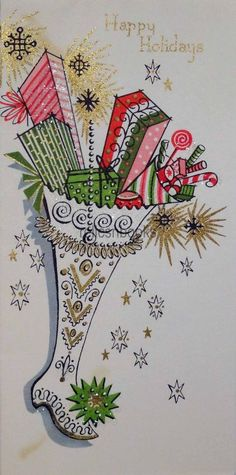 #1763 50s Glittered Mid Century Stocking- Vintage Christmas Card-Greeting