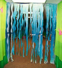 This is the entrance to our underwater seascape!  We hung a standar scene setter, (available for purchase at www.groupvbs.com) and cut some waves into it.  The result was fantastic!  We truly felt like we were under the sea!