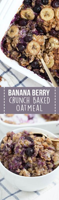 Oatmeal recipes - Banana Berry Crunch Baked Oatmeal is a simple, healthy and delicious way to start your day! This easy recipe is made with coconut milk, rolled oats, fresh bananas, berries and maple syrup Weight Watcher Desserts, Brunch Recipes, Dessert Recipes, Supper Recipes, Banana Berry, Banana Milk, Banana Oats, Snacks Saludables, Junk Food