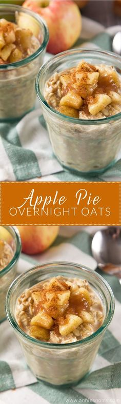You can have dessert for breakfast with my Apple Pie Overnight Oats! Creamy oats, packed with spice and applesauce topped with a homemade apple pie filling make these the perfect start to your day! (food and drink breakfast) Brunch Recipes, Breakfast Recipes, Breakfast Casserole, Overnight Oatmeal, Overnight Breakfast, Healthy Overnight Oats, Dairy Free Overnight Oats, Overnight Oats With Yogurt, Snacks Saludables